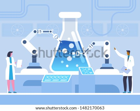 Biochemical experiment flat vector illustration. Doctors, chemists in white coats cartoon characters. Scientists studying chemical reaction, genetic engineering. Futuristic science, scientific test