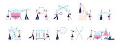 Biochemical laboratory. Colorful scientist, genetic dna research. Bacteria investigation, biological chemical medicine lab test vector set