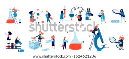 Biochemical science laboratory staff vector flat illustration. Colorful icons set with  performing various experiments  isolated