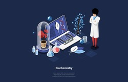 Biochemistry Concept Vector Illustration On Dark Background. Isometric Composition In Cartoon 3D Style With Writing. Male Chemist Character In Robe Near Laptop With Gene Code On Screen next to Plants and Tubes