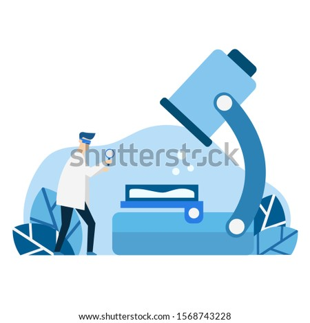 biochemistry laboratory laboratories conducting various experiments, flat vector blue isolated, blue color illustration