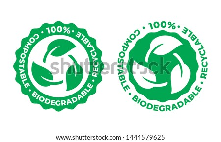 Biodegradable and compostable recyclable vector icon. 100 percent bio recyclable package green leaf logo