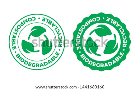 Biodegradable, compostable and recyclable vector icon. Bio recyclable eco friendly package green leaf stamp logo