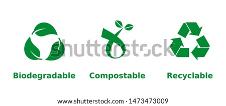 Biodegradable, compostable, recyclable icon set. Three green recycling symbols on white background. Zero waste,nature protection,eco friendly,sustainability concept.Vector illustration,flat,clip art.