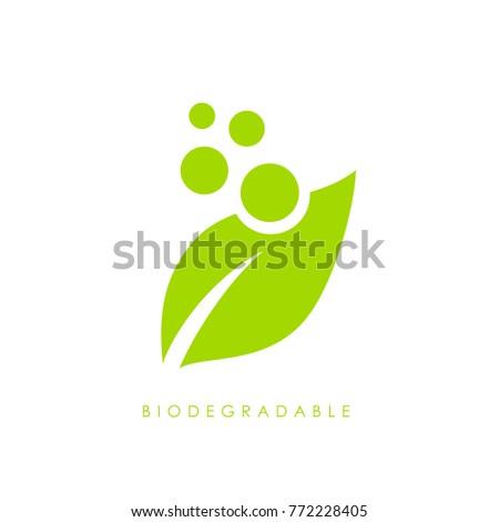 Biodegradable green leaf vector logo illustration isolated on white background