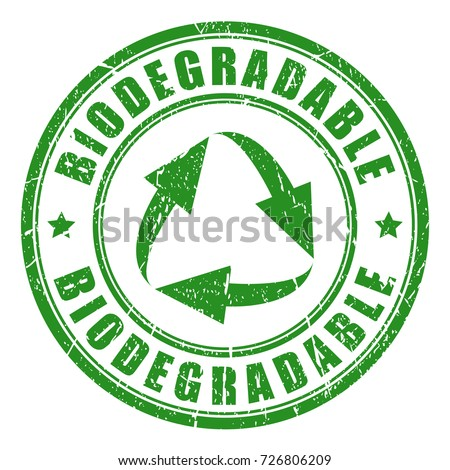 Biodegradable green vector stamp isolated on white background