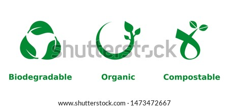 Biodegradable, organic, compostable icon set. Three green eco friendly signs on white background. Organic farming, environmental, healthy lifestyle, ecological, concept. Vector illustration,clip art.