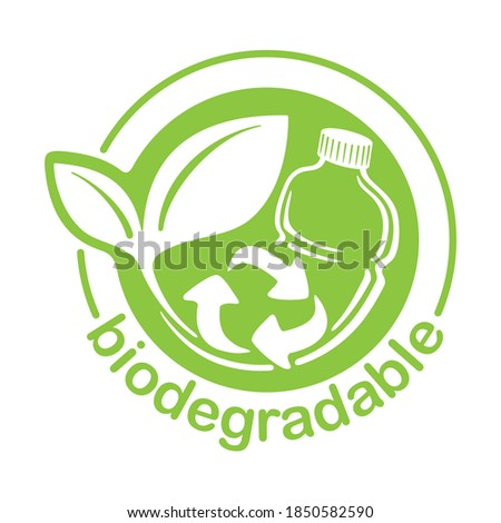 Biodegradable plastic stamp - bottle turns to plant with recyclable symbol - eco friendly logo for compostable material production (environment protection emblem) Foto stock ©