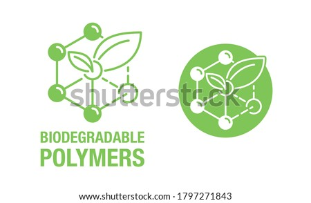 Biodegradable polymers icon - green emblem with plastic polymer molecular structure and plant leaf inside - eco-friendly plastic products marking Stockfoto ©
