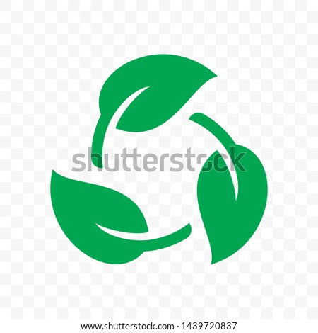 Biodegradable recyclable plastic free package icon. Vector bio recycling degradable label logo template Foto d'archivio ©