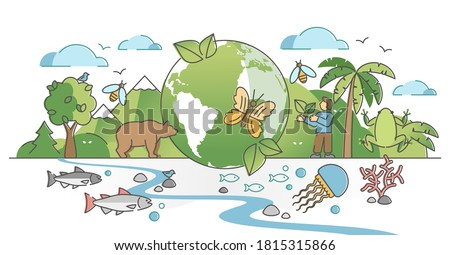 Biodiversity as natural wildlife species or fauna protection outline concept. Ecosystem climate difference with vegetation and habitat saving vector illustration. Ecology and endangered bio life.