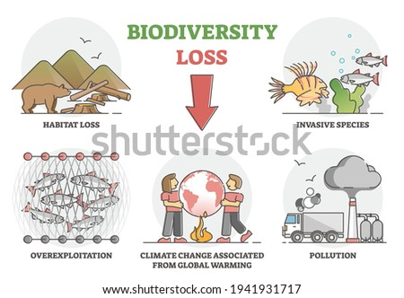 Biodiversity loss issues or causes as climate ecosystem problem outline set. Wildlife extinction from habitat loss, invasive species, overexploitation, global warming and pollution vector illustration