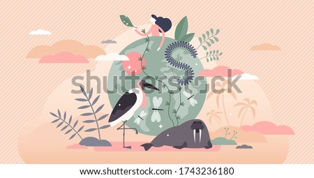Biodiversity vector illustration. Various wildlife flat tiny person concept. Mammals, birds, fishes and fauna life endangered conservation and retention. Earth climate awareness and habitat saving.