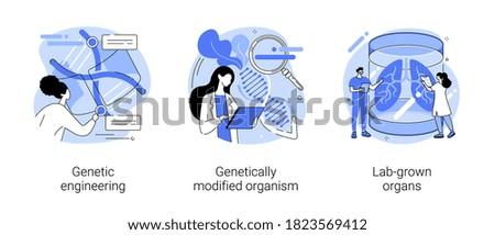 Bioengineering abstract concept vector illustration set. Genetic engineering, genetically modified organism, lab-grown organs, dna manipulation, stem cells, transplantation abstract metaphor. Stock photo ©