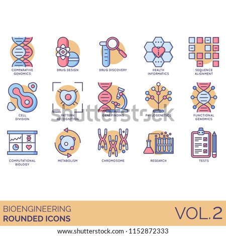 Bioengineering rounded vector icons. Comparative genomics, drug discovery, health informatics, sequence alignment, cell division, gene finding, phylogenetics, metabolism, chromosome, research, tests.