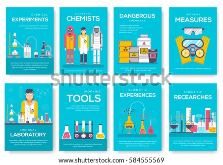 Biohazard chemists brochure cards set. chemistry lab template of flyear, magazine, poster, book cover, banner. Science people with equipment invitation concept background. Layout scientist modern page