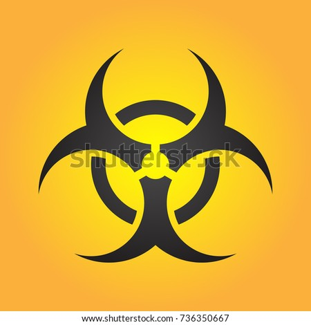 Biohazard illustration toxic sign, symbol. Warning radioactive zone triangle icon isolated on gradient background Radioactivity Dangerous radiation area symbol yellow black. Chemistry poison mark 3d. #736350667