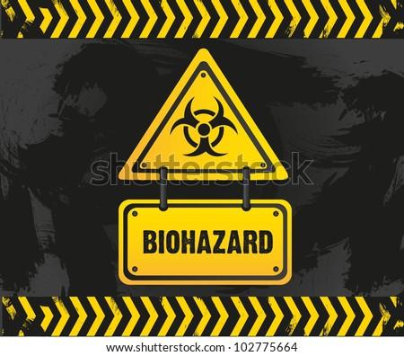biohazard sign on grunge background, vector illustration