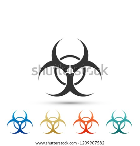 Biohazard symbol icon isolated on white background. Set elements in colored icons. Flat design. Vector Illustration #1209907582