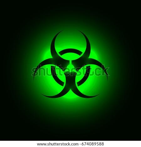 biohazard symbol on green