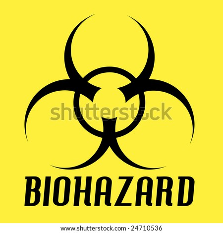 Biohazard symbol over a yellow.  All of the elements in this vector are fully editable.