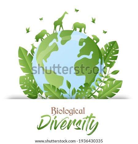 Biological Diversity illustration of green planet earth with wild animals walking and trees. Nature care awareness concept. Includes giraffe, elephant, rhino animal. Сток-фото ©