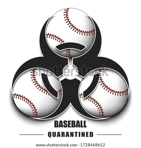 Biological hazard with baseball ball. Coronavirus sign. Stop covid-19 outbreak. Caution risk disease 2019-nCoV. Cancellation of sports tournaments. Baseball quarantined. Vector illustration