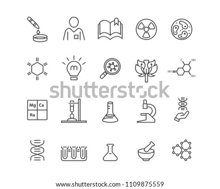 Biology and Technology icons set,Vector