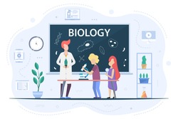 Biology at school. Students in the lesson go through the basics of biology. A schoolboy is looking through a microscope. Microbes and bacteria are drawn on the chalkboard. Flat design illustration.