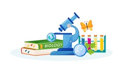 Biology flat concept vector illustration. School subject. Lab analysis. Natural science metaphor. Practical class. University course. Student textbook and laboratory items 2D cartoon objects