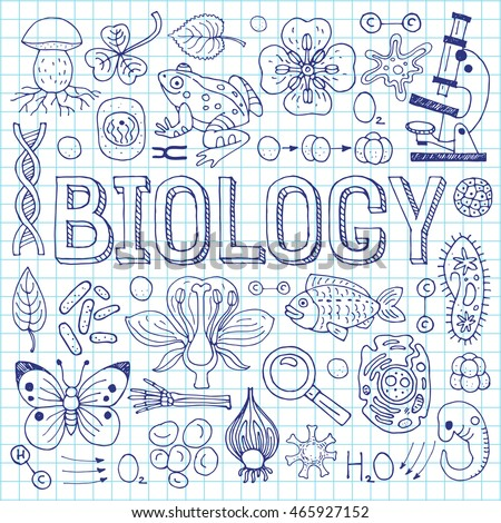 Biology hand drawn vector illustration with doodle icons, biological images and objects, isolated on exercise book sheet. #465927152