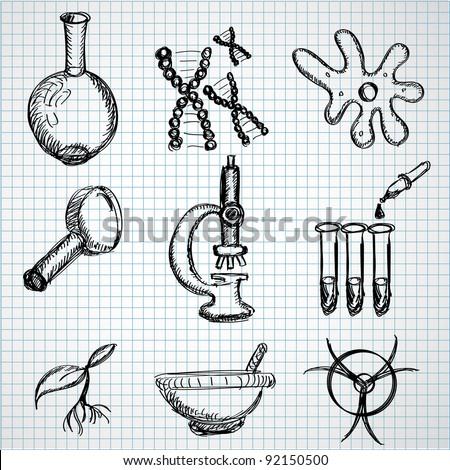 Biology hand drown symbols