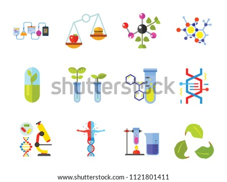 Biology Icon Set. Cell Structure Flask Test Tube Products On Scales Heating Test Tube Human Genome Molecule Genetically Modified Plants DNA Herbal Capsule Chemical Experiment Creative Recycling Sign