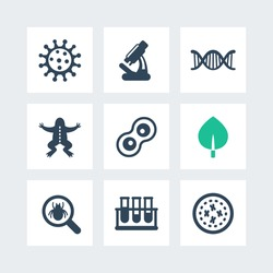 Biology icons set, cell, microscope, test-tubes, virus, vector illustration