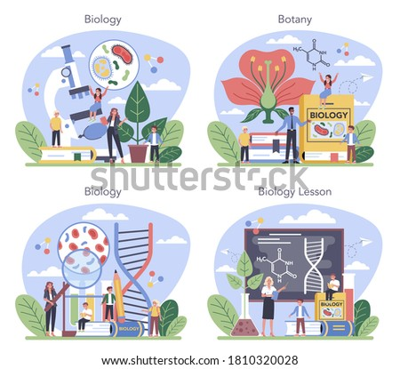 Biology school subject concept set. Scientist exploring human and nature. Anatomy and botany lesson. Idea of education and experiment. Vector illustration in cartoon style Foto stock ©