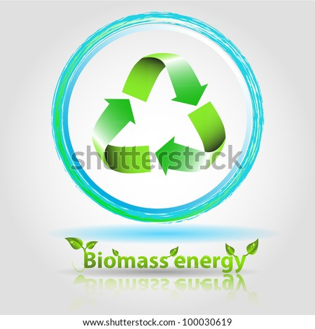 biomass energy illustration with renewable arrow and text with reflect