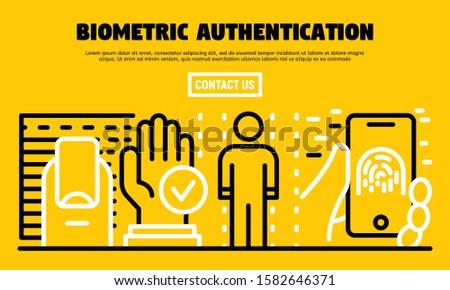 Biometric authentication banner. Outline illustration of biometric authentication vector banner for web design