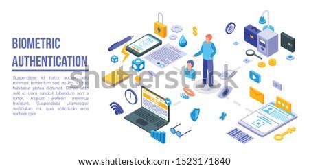 Biometric authentication concept banner. Isometric illustration of biometric authentication vector concept banner for web design