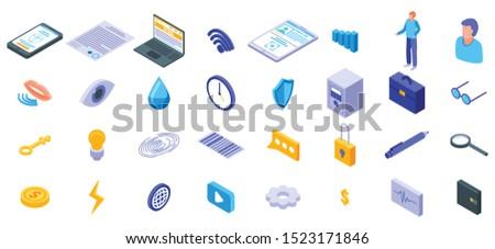 Biometric authentication icons set. Isometric set of biometric authentication vector icons for web design isolated on white background