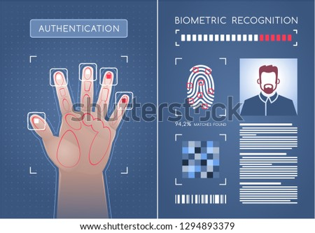 Biometric Authentication. Two graphic screens representing biometric scanner and software module of a Biometrical Identification System. Vector illustration on the subject of 'Business Security'.