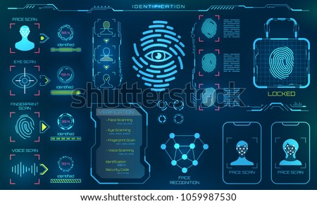 Biometric Identification or Recognition System of Person, Line Icons of Identity Verification Sign - Illustration Vector