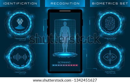 Biometric Identification Personality, Scanning Modern Access Control, Technology Recognition (Authentication) System Concept - Illustration Vector