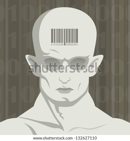 biometric passports on the forehead of the man