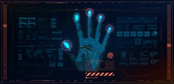 Biometric recognition technology on the palm of a hand, fingerprint and face of a person. Vector illustration Technology artificial intelligence. Fingerprint scanning identification system. HUD style