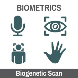 Biometric Scanning Graphic - Biogenetics with Hand, audio, head scan, eye