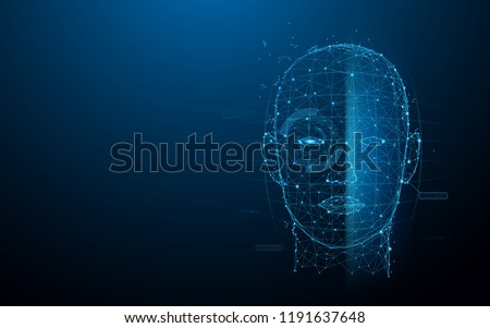 Biometric technology digital Face Scanning form lines, triangles and particle style design. Illustration vector