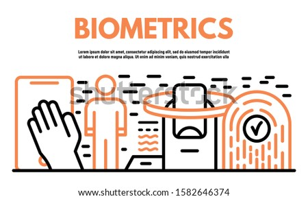 Biometrics banner. Outline illustration of biometrics vector banner for web design