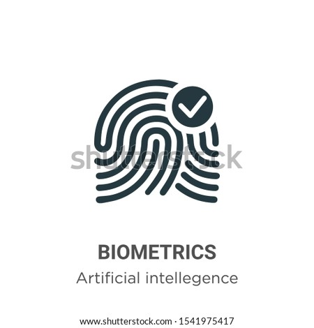Biometrics vector icon on white background. Flat vector biometrics icon symbol sign from modern artificial intellegence and future technology collection for mobile concept and web apps design.