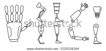 Bionic artificial limbs icons set. Outline set of bionic artificial limbs vector icons for web design isolated on white background