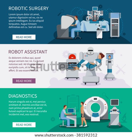 Bionic banners  set of robotic surgery tools and  innovational medical diagnostic equipment flat vector illustration